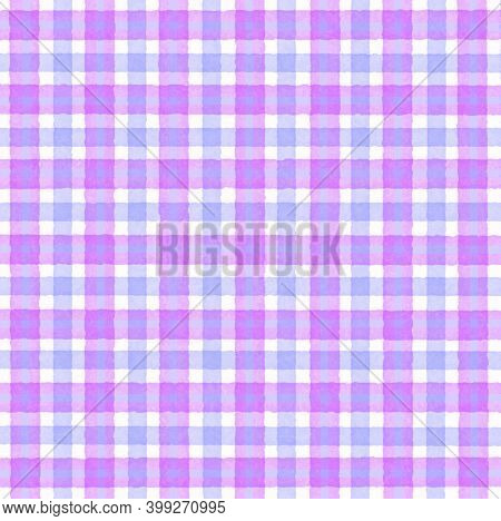 Pink White Lavender Lilac Vintage Checkered Background With Blur, Gradient And Grunge Texture. Class