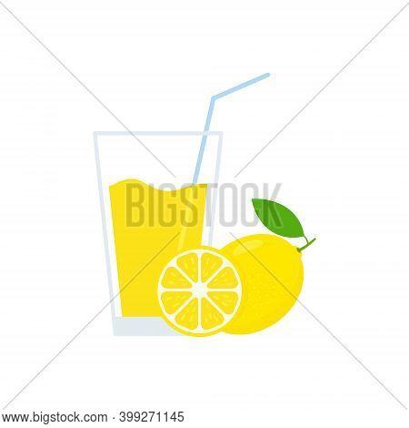 Fresh Lemon Juice Glass. Healthy Natural Lemonade Drink. Citrus Slice. Vector Isolated On White.