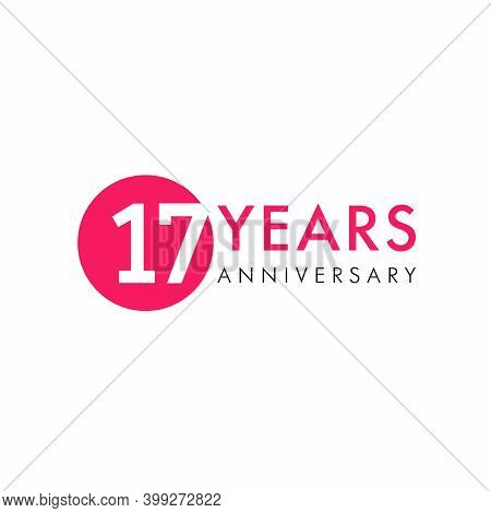 17 Th Anniversary Numbers. 17 Years Old Creative Congrats. Cute Congratulation Concept. Isolated Abs