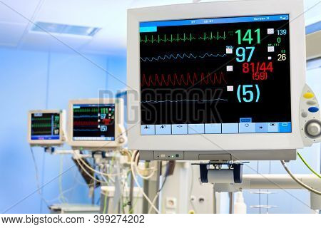 Three Vital Signs Monitors in Intensive Care Unit in Hospital