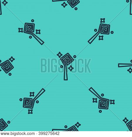 Black Line Magic Staff Icon Isolated Seamless Pattern On Green Background. Magic Wand, Scepter, Stic