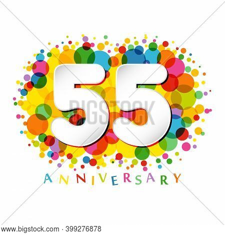 55 Th Anniversary Numbers. 55 Years Old Coloured Congrats. Cute Congratulation Concept. Isolated Abs