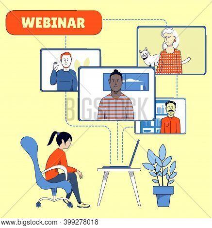 Webinar With Several Participants. Online Communication. Online Learning Illustration.