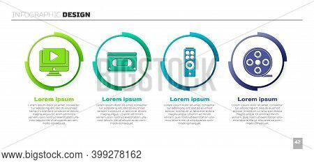 Set Online Play Video, Vhs Video Cassette Tape, Remote Control And Film Reel. Business Infographic T