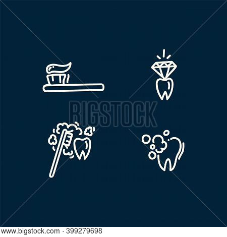 Icons For Cleaning Your Teeth And Mouth. A Cartoon Drawn In Vector Toothbrush With Toothpaste To Cle