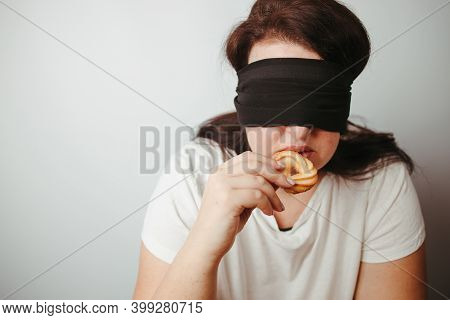Woman With Closed Eyes Eating Unhealthy Food. Intuitive Nutrition, Mindfulness, Conscious Eating. Di