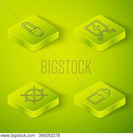 Set Isometric Electric Transformer, Electric Circuit Scheme, Battery Charge Level Indicator And Led