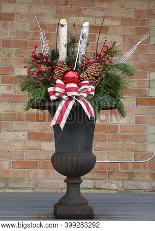 Winter Bouquet In The Vase As Christmas Decoration