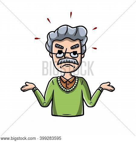 Disgruntled Man Threw Up His Hands. Sad Character. Sorrowful Guy