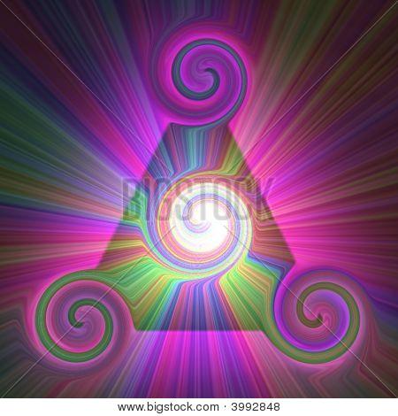 Rainbow Sunburst Pyramid Swirls