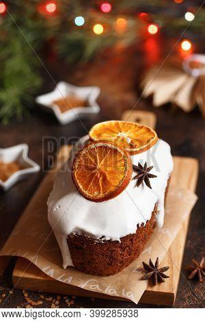 Christmas Cake. Christmas Baking. Preparations For The Holiday. Christmas Dessert Table.
