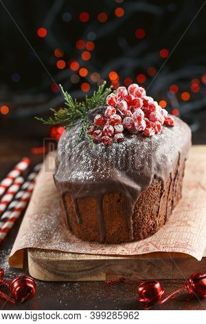 Chocolate Cake. Christmas Baking. Preparations For The Holiday. Christmas Dessert Table.