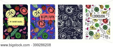 Cover Page Vector Templates For Recipe Books Based On Seamless Patterns With Hand Drawn Fruit And Ve