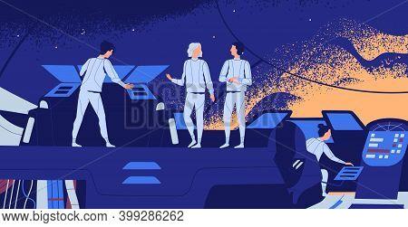 Astronauts Aboard Of Spacecraft. Interstellar Spaceship Crew On The Bridge. Futuristic Scene Of Spac