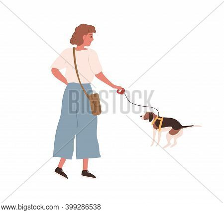 Young Cheerful Woman Walking Dog On Leash. Female Character With Defecating Puppy Outdoors. Scene Of