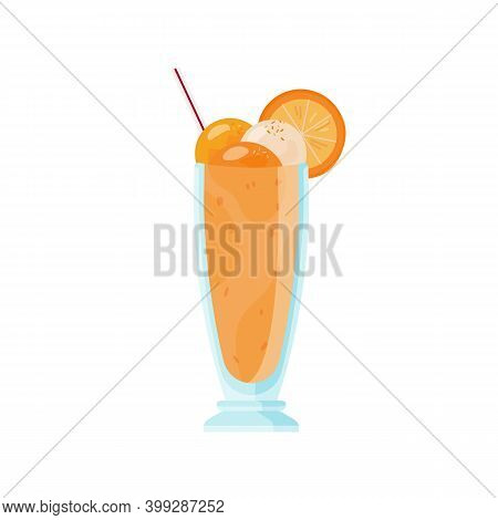 Glass Of Cold Milkshake Decorated With Ice Cream And Orange Slices. Summer Refreshing Fruit Cocktail
