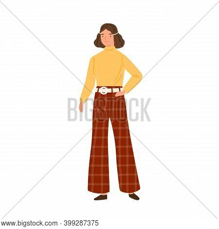 Young Woman Wearing Hippie Clothes In 70s Decade Style. Female Character In Retro Flared Trousers An