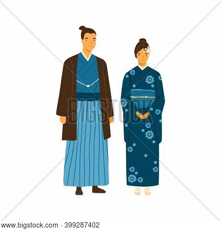 Japanese Couple Wearing Traditional Costumes. Man And Woman In Decorated National Clothes Yukata And