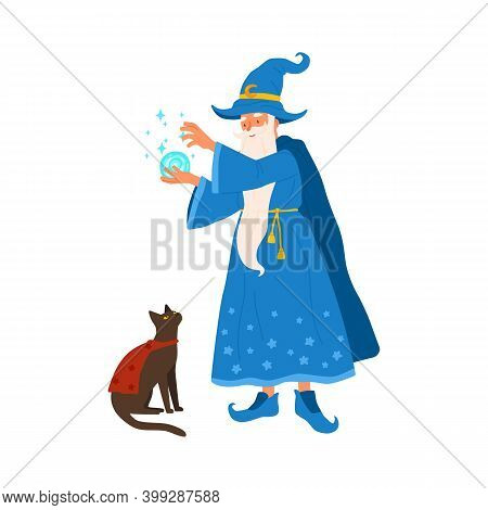 Aged Gray Haired Mage Conjure With Magic Ball. Portrait Of Old Magician Practicing Wizardry With Cat