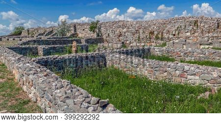 Ruins Of The Ancient Fortress Histria, Dobrogea, Romania. Founded By Greek Settlers From Miletus In