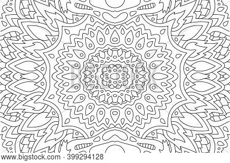 Beautiful Black And White Illustration For Adult Coloring Book Page With Rectangle Abstract Eastern