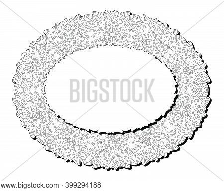 Beautiful Monochrome Illustration For Adult Coloring Book Page With Isolated On The White Background