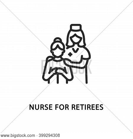 Nurse For Retirees Flat Line Icon. Vector Illustration Of A Nurse Taking Care Of An Elderly Patient