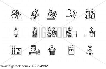 Elderly People And Disabled Flat Line Icons Set. Vector Illustration Caring For The Elderly. Nursing