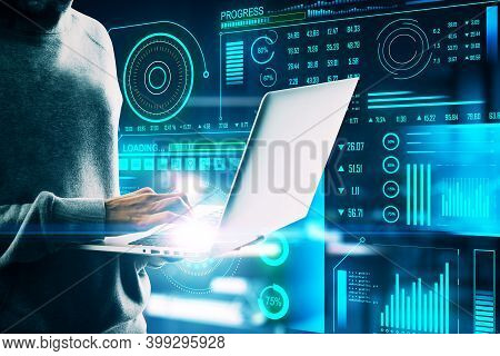 Hacker Using Laptop With Digital Interface On Blurry Interior Background. Malware And Technology Con