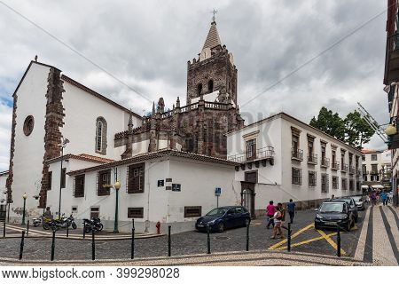 Funchal At Madeira, Portugal - August 01, 2014: View At Cathedral Of Our Lady Of The Assumption Down