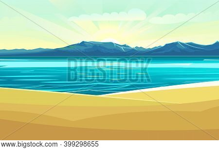 Seaside. Surf Line. Sea And Waves. On The Horizon There Is A Rocky Shore. Flat Style Illustration. S