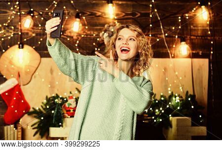 Here I Am. New Year Holiday. Winter Mood. Decorated House. Merry Christmas To You. Happy Woman With