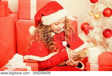 Believe In Miracle. Send Letter For Santa. Wish List. Child Santa Costume Enjoy Christmas Eve. Girl