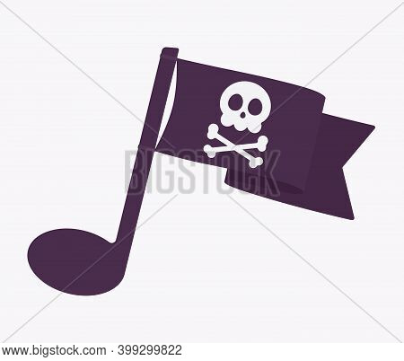 Music Piracy Icon, Musical Sound Note Symbol With Pirate Flag. Recordings And Content Illegal Downlo
