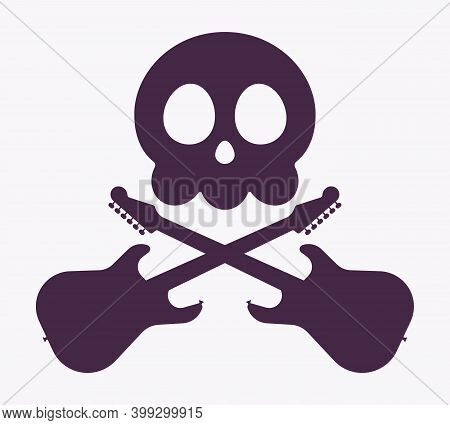 Music Piracy Icon, Skull And Electroguitars Cross. Recordings And Content Illegal Download, Playing,