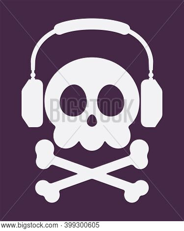 Music Piracy Icon, Jolly Roger Skull Wearing Headphones. Recordings And Content Illegal Digital Audi