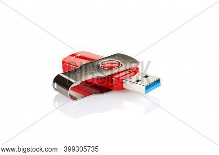 Red And Silver Usb 3.0 Flash Drive Isolated On White Background . Usb Pen Drive Or Flash Drive On Wh
