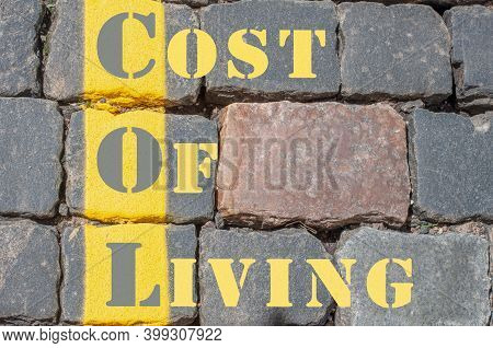 Concept Image Of Business Acronym Col - Short For Cost Of Living Written Over Road Marking Yellow Pa