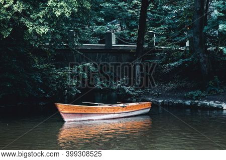 Lake Landscape With Boat. Boat In The Strait. Boat Ride