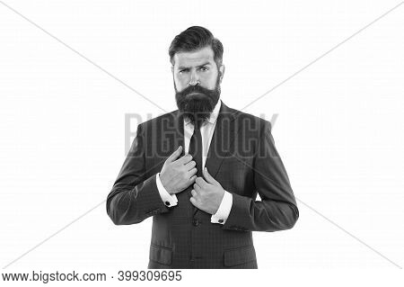 Wardrobe That Suits Your Personal Style. Stylish Boss Isolated On White. Bearded Man In Formal Style