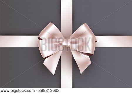 Shiny Ivory White Satin Ribbon On Gray Background. Vector
