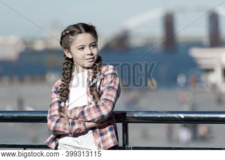 What Do On Holidays. Sunny Day Walk. Leisure Options. Free Time And Leisure. Girl Cute Kid With Brai