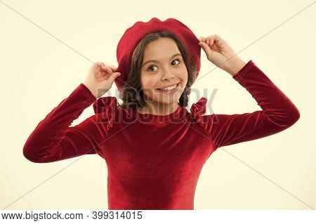 Ambitious And Beautiful. Dream About France. Cheerful Kid Wearing French Style Beret. Happy Children
