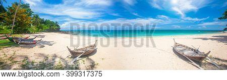 Tropical beach and longtail boat, Koh Lanta, Thailand