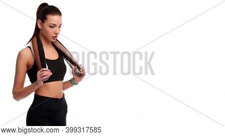 Caucasian Strong Woman With Towel After Physical Training On White Isolated Background. Fitness Inst
