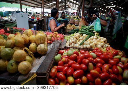 Mata De Sao Joao, Bahia, Brazil - October 31, 2020: Customers Are Seen Shopping At The Open Market I