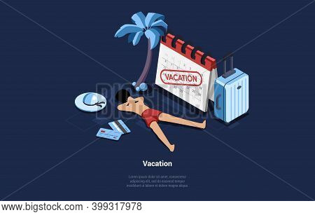 Isometric Vector Illustration In Cartoon 3d Style On Dark Background. Vacation Concept Art Of Beach