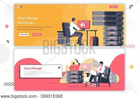 Cloud Storage Landing Pages Set. Hosting Provider, Cloud Storage Management Corporate Website. Flat
