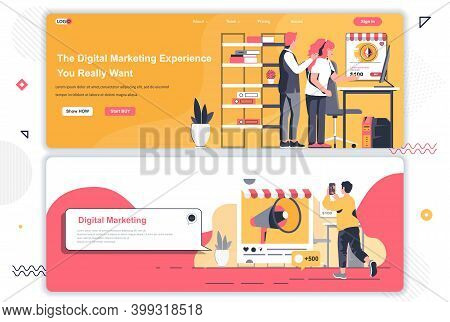 Digital Marketing Agency Landing Pages Set. Marketing Research, Promotional Campaign Corporate Websi