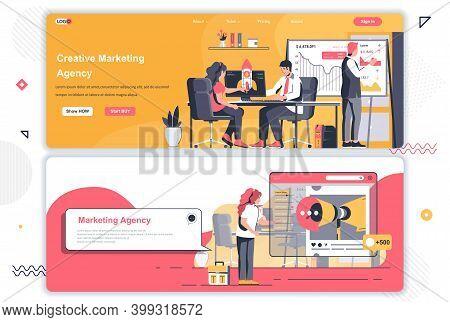 Creative Marketing Agency Landing Pages Set. Marketing Strategy, Pr Service Corporate Website. Flat